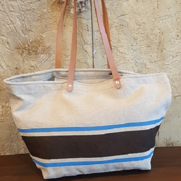 a118cca47ed1 Hemp Fabric Brown   Blue Stripe Market Bag