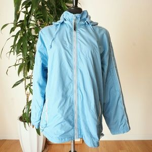 Sky blue windbreaker jacket