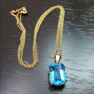 14k necklace with blue pendant for sale