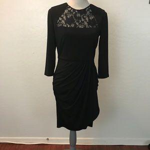 Belle Badgley Mischka elegant black ruched dress