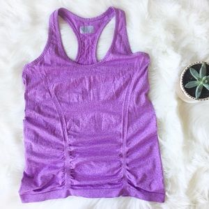 Athleta Tempo Heathered Purple Seamless Tank, L