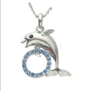 Ocean blue dolphin's hoop fashion pendant