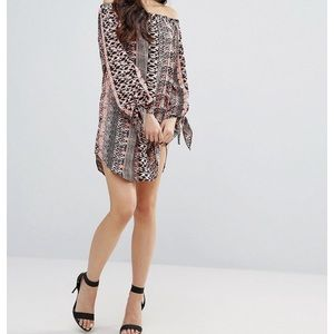 ASOS ax Paris printed off the shoulder dress