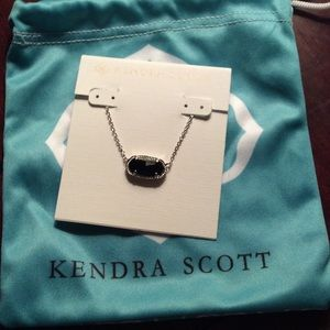 Kendra Scott Elisa Black &Silver Pendant Necklace