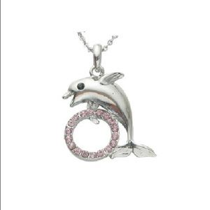 Blushing pink dolphin's hoop fashion pendant