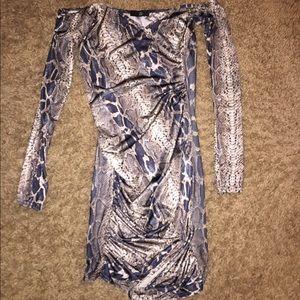 Khaki slinky snake ruched bodycon dress
