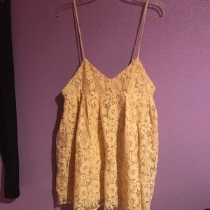 Yellow low cut zip up dress
