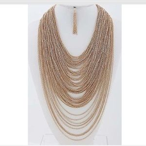 Layered Tassel Necklace and Earrings Set