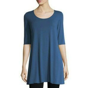 Eileen Fisher 100% silk boatneck tunic