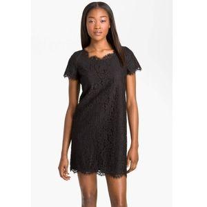 Joie susina black lace shift dress layered Large