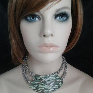 Green Camo Trapezoid Choker Statement Necklace
