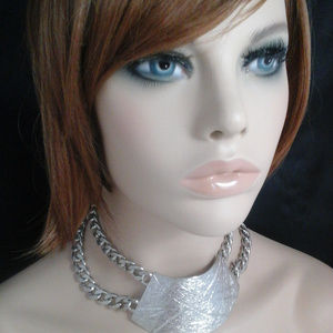 Chunky Silver Textured Trapezoid Choker Necklace