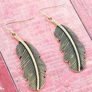 Worn Goldtone Feather Earrings
