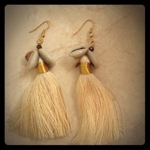 Gorgeous goddess cowrie shell tassel earrings