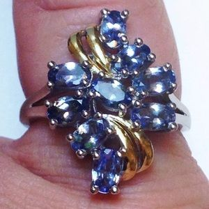 🍒Nwt! AAA Tanzanite  Luxury Deluxe Cluster Ring 8