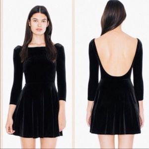 American Apparel Black Velvet Skater Dress Size S