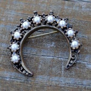 Jewelry - Vintage Faux Pearl Brass Tone Crescent Moon Pin