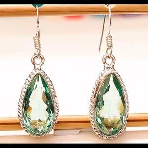 Aqua Apatite Gemstone Earrings, in .925 Silver.