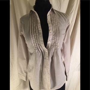 Soft 100% cotton tan pin stripe top