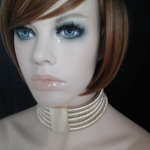 Chunky Gold & Metal 5 Layer Coil Choker Necklace