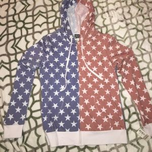 NWT Red, White & Blue Star Zip Up Hoody