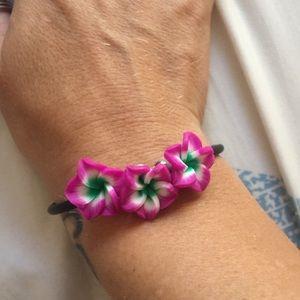 Gorgeous goddess plumeria trio magnetic bracelet