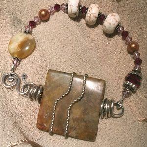 Bohemian Stone and Crystal bracelet