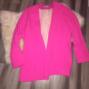 Lush Hot Pink Open Front Blazer Small