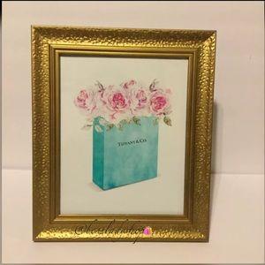 "Tiffany &Co Shopping Bag w Pink Roses Print 8""x10"""