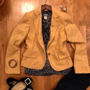 Anne Klein Mustard Yellow Cropped Wool Blazer, 4