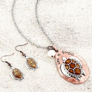 Sea Turtle 'Life Is Good' Necklace & Earring Set