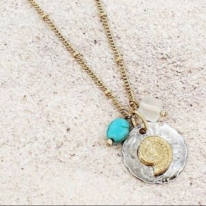 Two-Tone Sand Dollar Charm Necklace