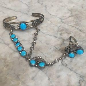 Vintage Sterling Turquoise Slave Bracelet