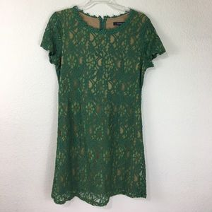 Forever21 green/tan lace dress
