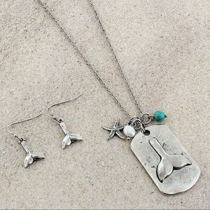 Burnished Silvertone Mermaid Tail Necklace Set