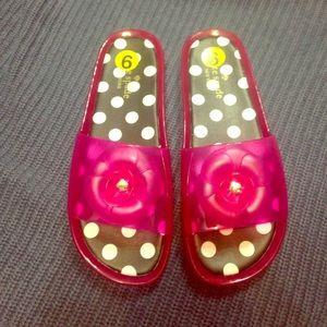 Kate Spade pink flower plastic sandal shoes slides