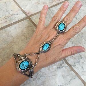Native American Sterling Turquoise Slave Bracelet