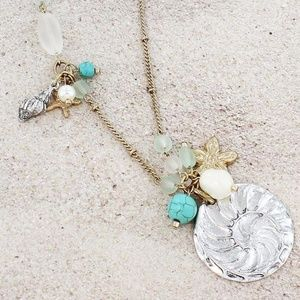 Nautilus & Frosted Bead Cluster Necklace