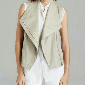 VINCE leather & linen vest
