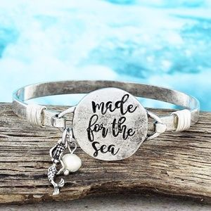 Worn Silvertone 'Made For The Sea' Bracelet