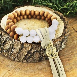 Two Strand Opaque & Wood Bead Anchor Bracelet