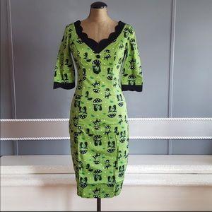 Green Voodoo Vixen Black Cat Katniss Wiggle Dress