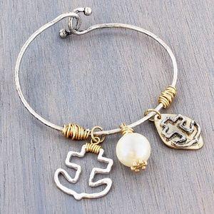 Two-Tone Anchor Charm Bracelet