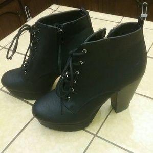 Black half ankle boots