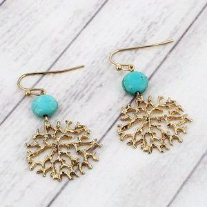 Turqoise Bead & Worn Goldtone Coral Earrings