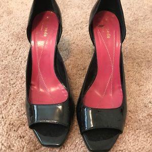 Kate Spade patent leather peep toe pumps