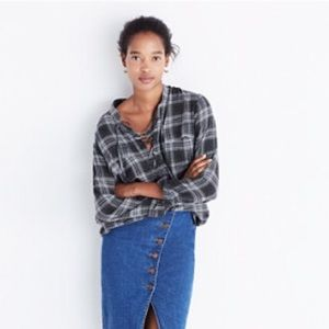 Madewell Terrace Lace Up Shirt in Owens Plaid S