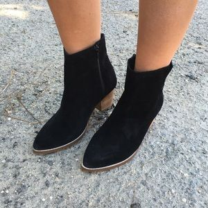 Black Suede Leather Pointy Boho Chic Booties