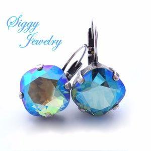 Swarovski® Crystal Earrings, Erinite Shimmer Drops
