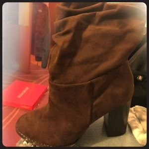 Chocolate mid booties with heel